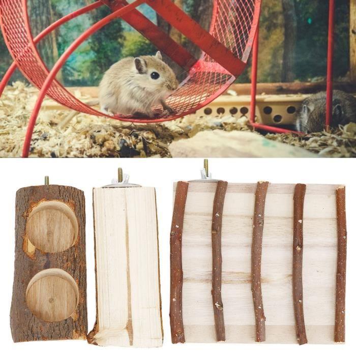 Bol de nourriture en bois naturel Tige de meulage des dents de la plate-forme d'échelle d'escalade divisée Hamster -COU