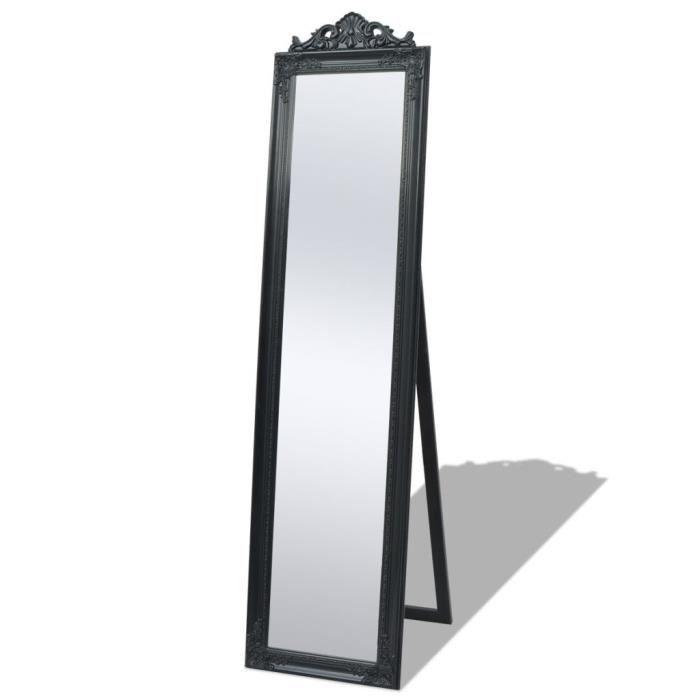 Miroir Sur Pied En Bois : Style Baroque&Encadrement Mouluré - Miroir Psyché De Sélection - Classique Chic - Noir - 160 x 40 Cm