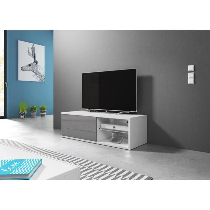 Meuble TV moderne Azalia BLANC/ GRIS BRILLANT 100cm