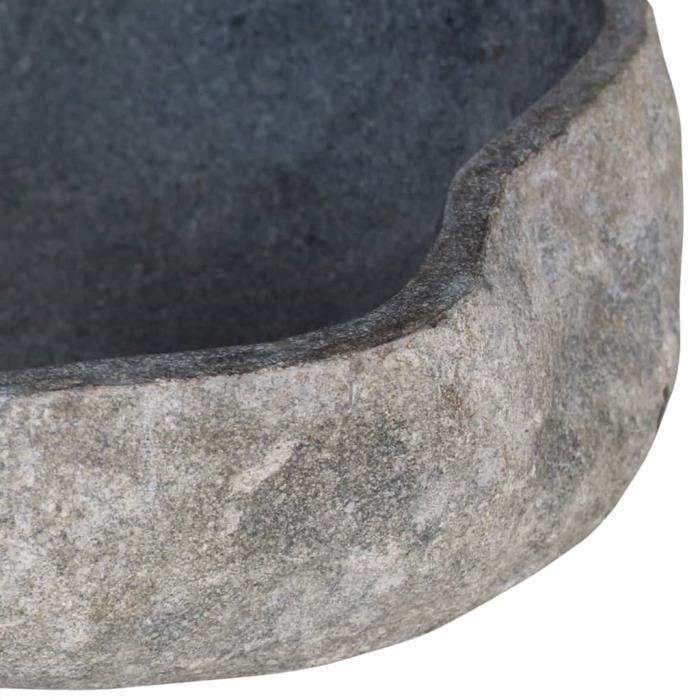 Super - Lavabo Vasque à poser - Lavabo à poser Évier et lavabo salle de bain en pierre de rivière Ovale - 46-52 cm @611533