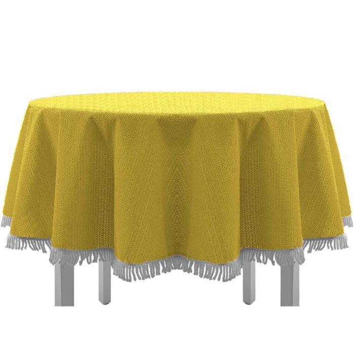 Exclusive Nappe de table de jardin, ronde, ovale, carrée classique avec franges, Textile, jaune, 140x180 cm oval