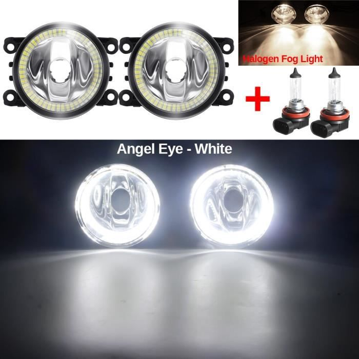 Phare antibrouillard œil d'ange avec anneau Halo DRL H11 12V, pour voiture Renault Duster -Warm White and White