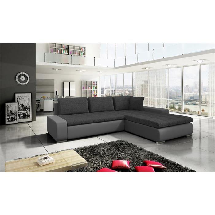 Canapé d'angle convertible Viviane I - Angle droit - noir et gris