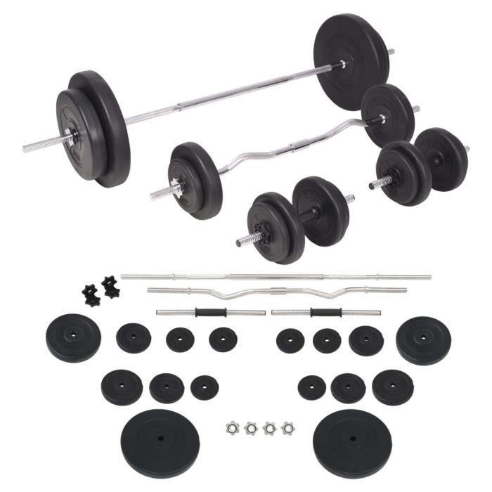 DEX® Ensemble d'haltères et barres d'haltères 90 kg noir