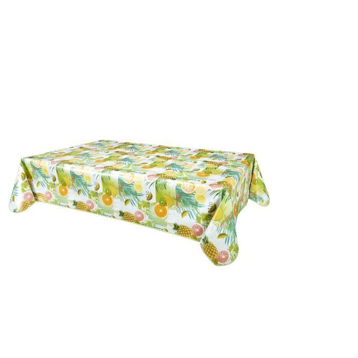 Nappe en toile cirée rectangulaire tropicale Caraibes - L. 140 x l. 200 cm - Vert