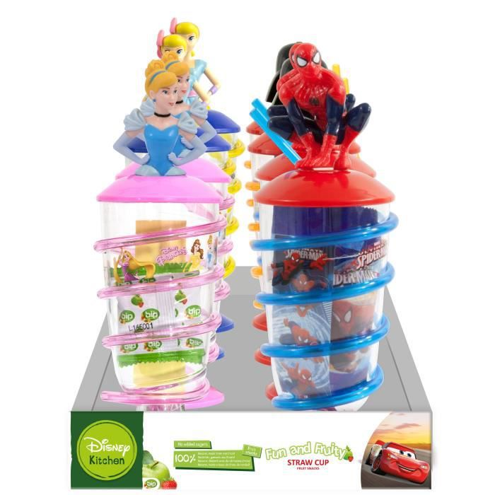 Pack de 8 Gobelet Paille Tourbillon - Disney Mix - Snack pâte de fruits