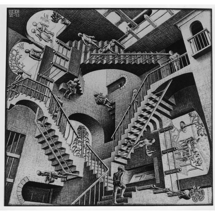Poster Affiche Relativity Escaliers Escher Dessin Litographie Art Moderne Illusion 31cm x 32cm