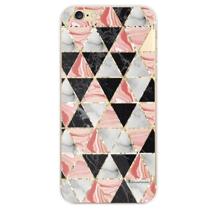 Coque iPhone 6 iPhone 6S rigide transparente Triangles marbre Ecriture Tendance et Design La Coque Francaise