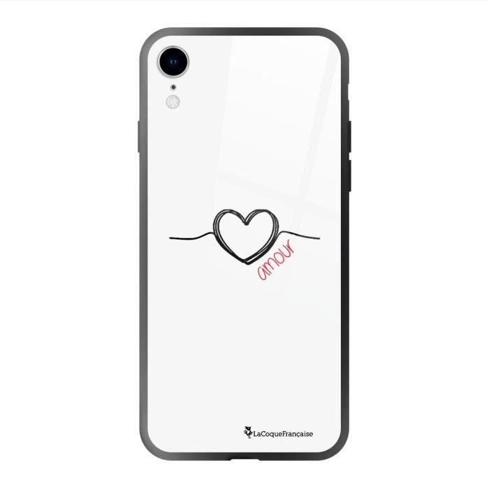 Coque en verre trempé iPhone Xr Coeur Noir Amour Ecriture Tendance et Design La Coque Francaise.