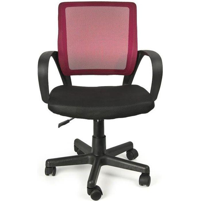 Chaise de bureau pour enfants IVO rouge pivotant idéale pour le travail et le repos