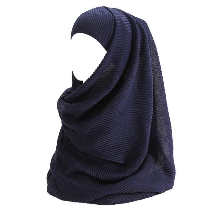 Maxi Hijab pour Femmes Foulard Écharpe Turban Châle Islamique, Plissé Coton ( Bleu Marine)