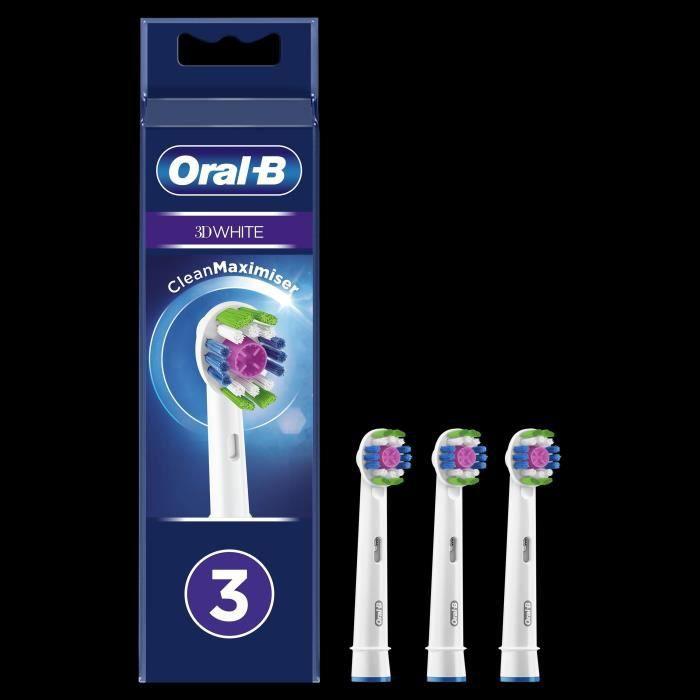Oral-B Brossette de Rechange 3D White Clean Max, Brosse à Dents Électrique Jusqu'à 100 % d'élimination plaque dentaire, Pack X3