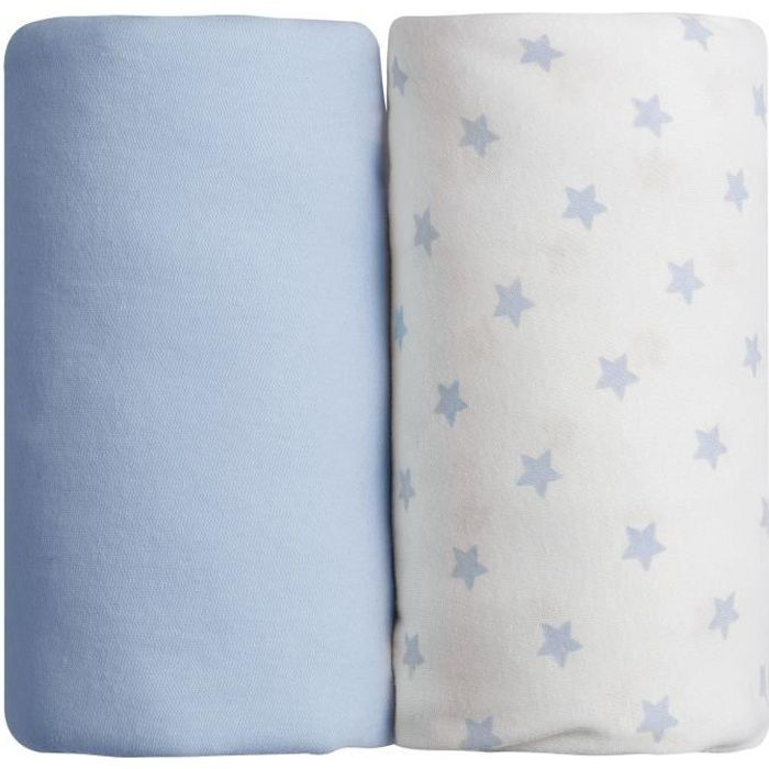 BABYCALIN Lot de 2 draps housse Jersey coton - Impression étoile bleu et bleu - 70 x 140 cm