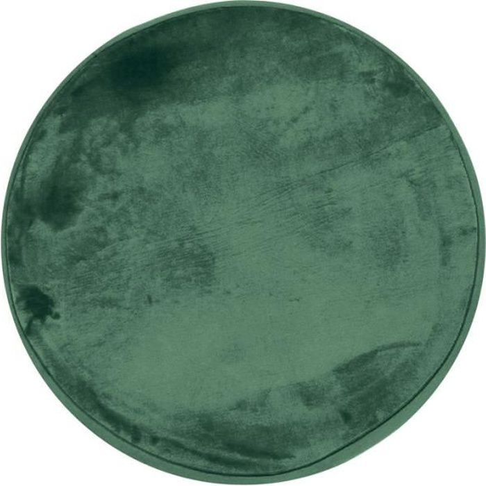 FLANELLE - Tapis rond extra-doux effet velours vert foncé diam.70