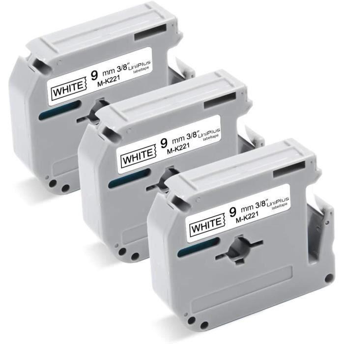 UniPlus Ruban Étiquettes Compatible pour Brother P-Touch M-K221 MK-221 9mm x 8m pour Brother P-touch PT-55 PT-60 PT-65 PT-70 PT-80