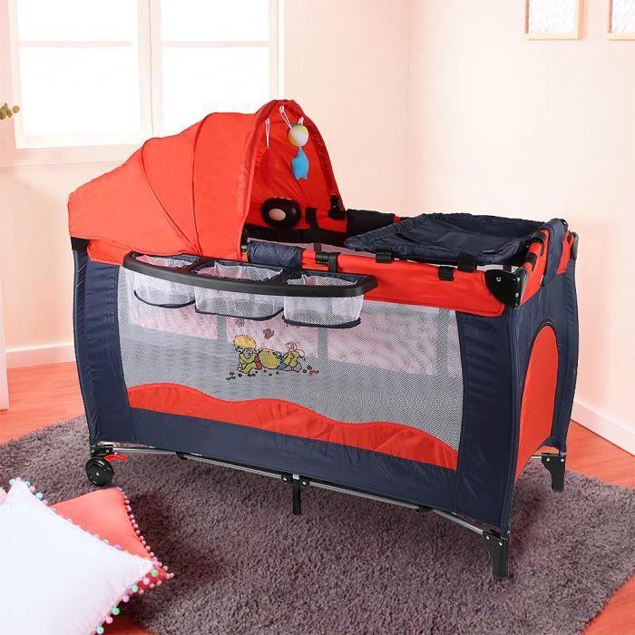 Miss Lit Parapluie Avec Table A Langer Panier Arche De Jeuet Rouge Noir Lit Voyage