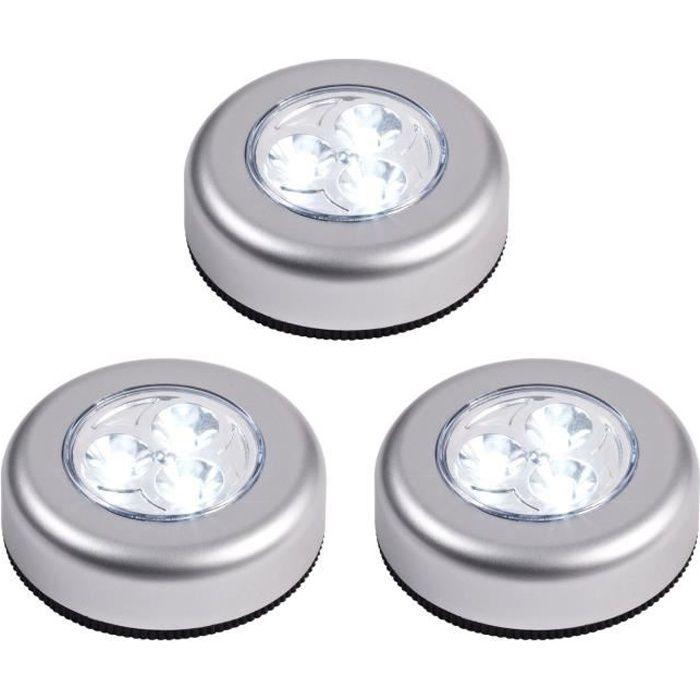 Lampe adhésive sans fil à leds autocollante spot à piles placard armoire étagère