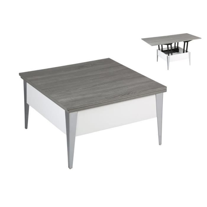 Table basse relevable blanc laqu ch ne gris achat for Table basse relevable blanc laque