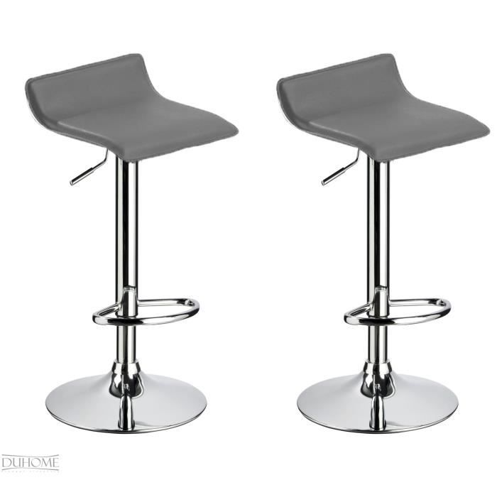 lot de 2 tabourets de bar gris r glable achat vente. Black Bedroom Furniture Sets. Home Design Ideas