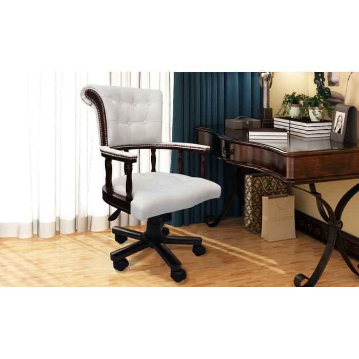 fauteuil de bureau en cuir chesterfield blanc achat vente chaise de bureau blanc cdiscount. Black Bedroom Furniture Sets. Home Design Ideas