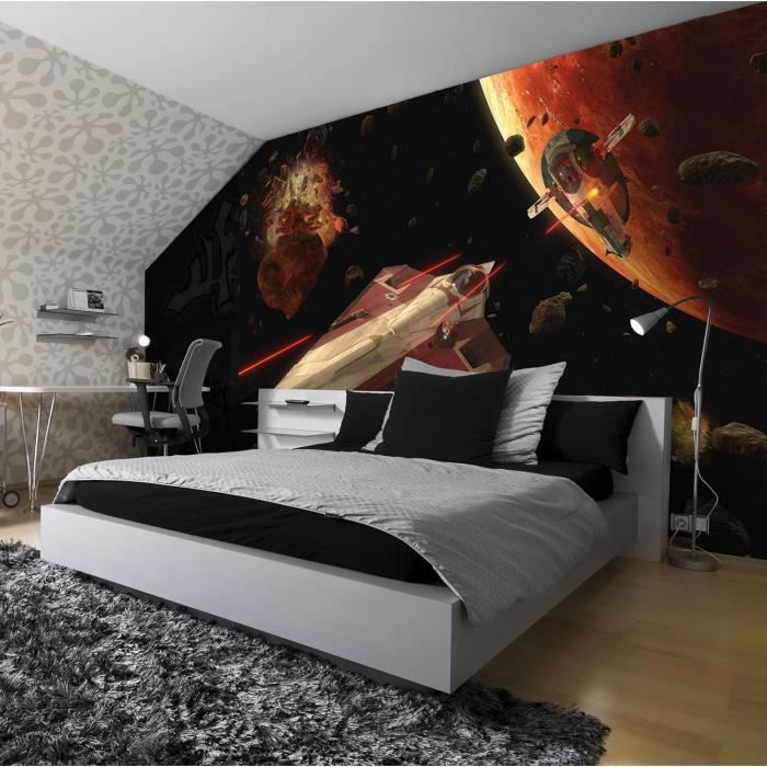papier peint star wars 184 x 254 cm fresque murale attack of the clones achat vente papier. Black Bedroom Furniture Sets. Home Design Ideas