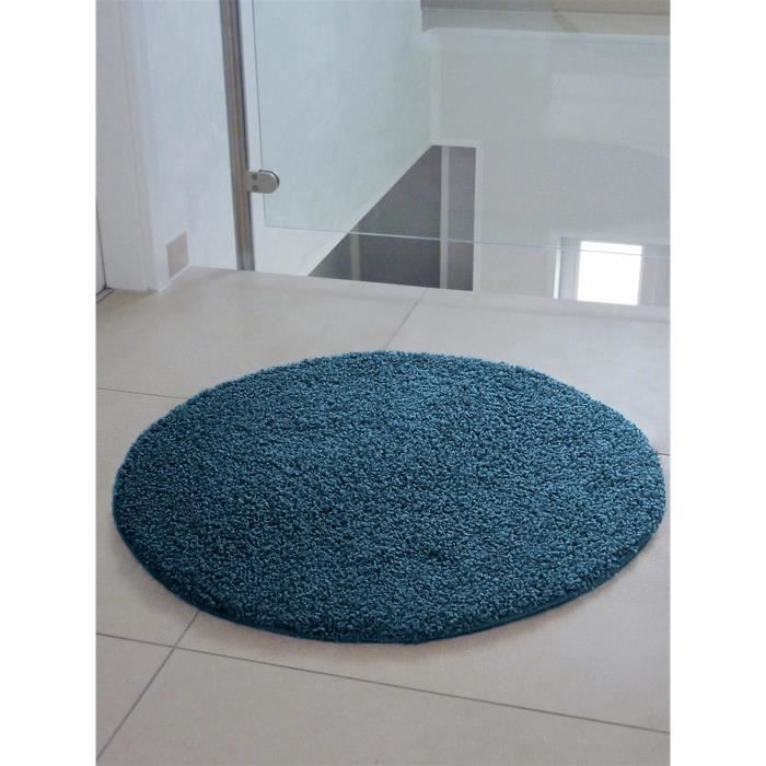 tapis shaggy poils longs swirls bleu 200 cm rond. Black Bedroom Furniture Sets. Home Design Ideas