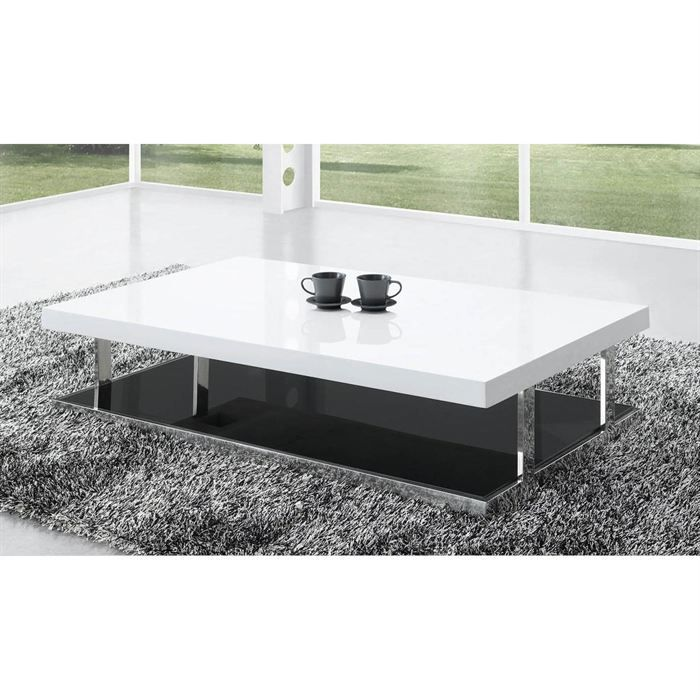 table basse laqu e blanc elora achat vente table basse. Black Bedroom Furniture Sets. Home Design Ideas