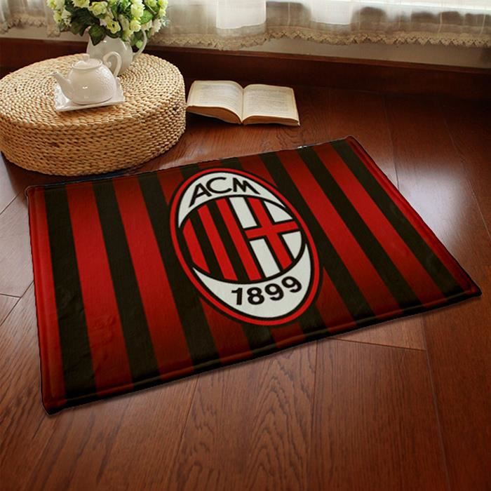 ac milan quipe de football tapis de salon shaggy 80mm 40x60 cm achat vente tapis cdiscount. Black Bedroom Furniture Sets. Home Design Ideas