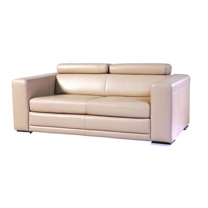 Canape cuir convertible 3 places seville chocolat for Canape lit cuir 3 places