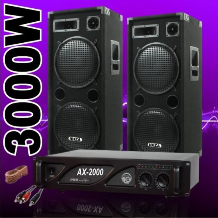 pack sono dj 3000w avec 2 enceintes 1500w 1 ampli 2000w. Black Bedroom Furniture Sets. Home Design Ideas