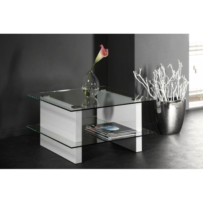 Table basse carr e design en verre et pi tement achat vente table basse - Table basse design carree ...