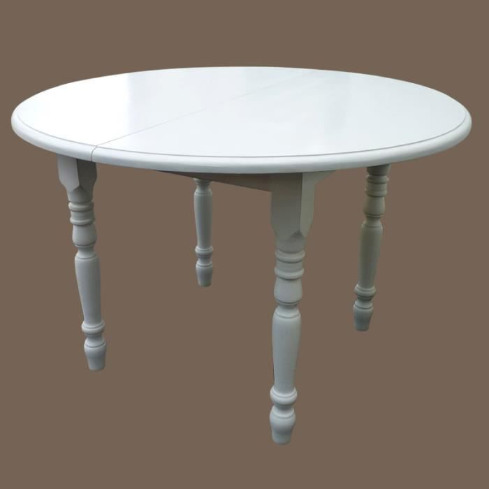 Table ronde en pin massif avec 2 allonges blanc achat for Table ronde 90 cm avec rallonge