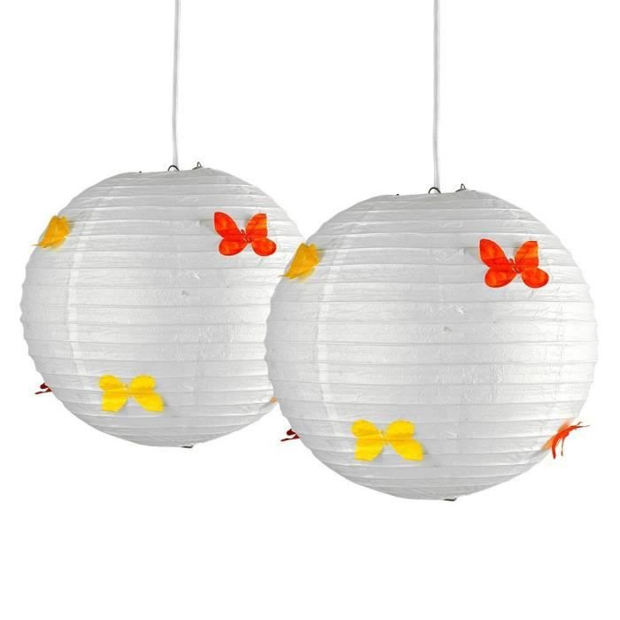 lot de 2 abats jour papillons 30 cm ballons chinoise. Black Bedroom Furniture Sets. Home Design Ideas