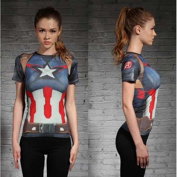 t compression femme t shirt marvel captain america rapide sport courir sec tees tops manches. Black Bedroom Furniture Sets. Home Design Ideas