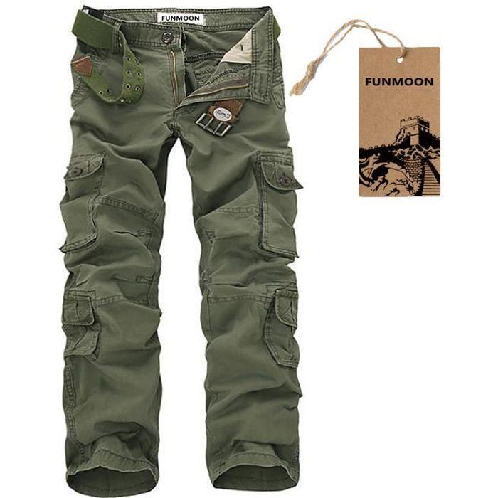 WSLCN Homme Cargo Pantalons Loisir Travail-Multi Poches Vintage Style Combat Militaire Pants Noir Fr 44-46