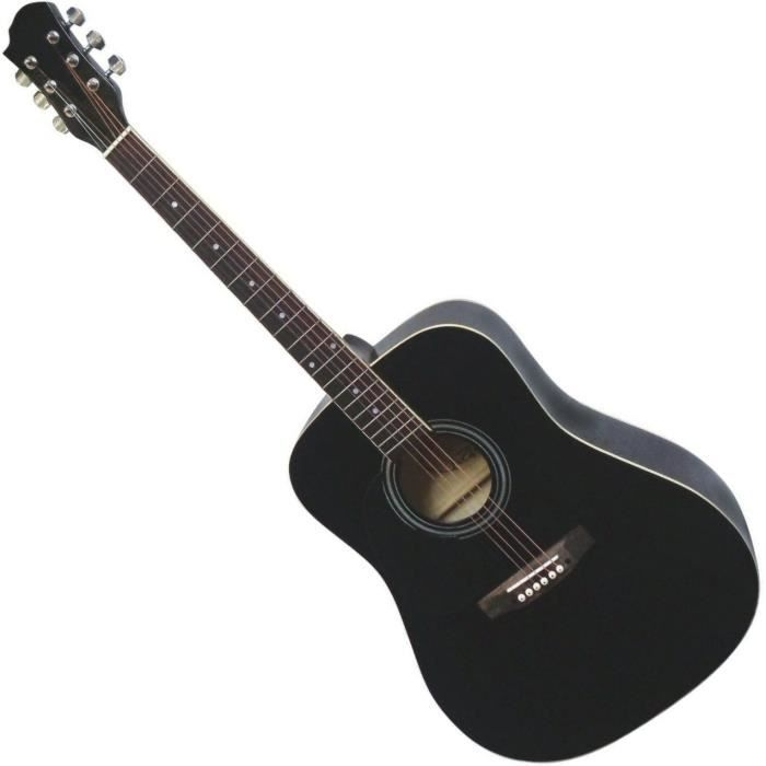 guitare acoustique folk noire 4 4 pour gaucher pas cher. Black Bedroom Furniture Sets. Home Design Ideas