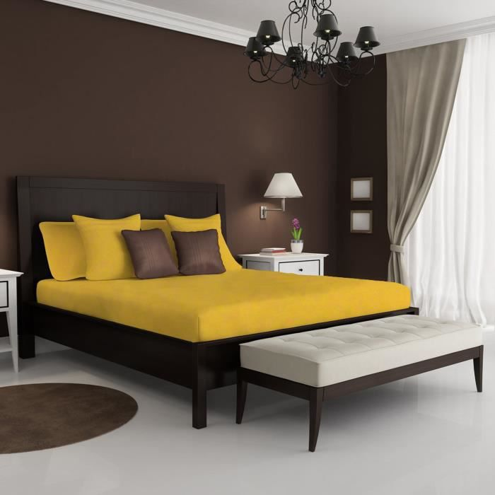 drap dessus coloris jaune achat vente drap plat cdiscount. Black Bedroom Furniture Sets. Home Design Ideas