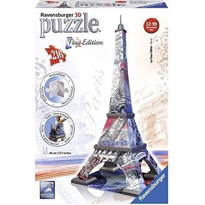 ravensburger 12580 puzzle 3d tour eiffel achat vente puzzle ravensburger 12580. Black Bedroom Furniture Sets. Home Design Ideas
