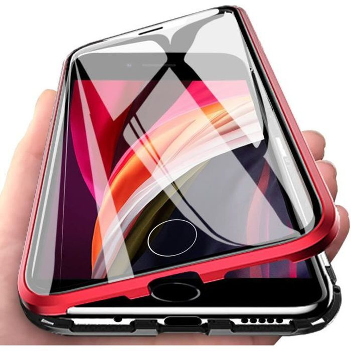 iPhone SE 2020 Coque, Verre trempé Plein écran Magnétique Métal 360 Degres Full Body Coque pour iPhone 7 - 8 - SE 2020 Noir Rouge