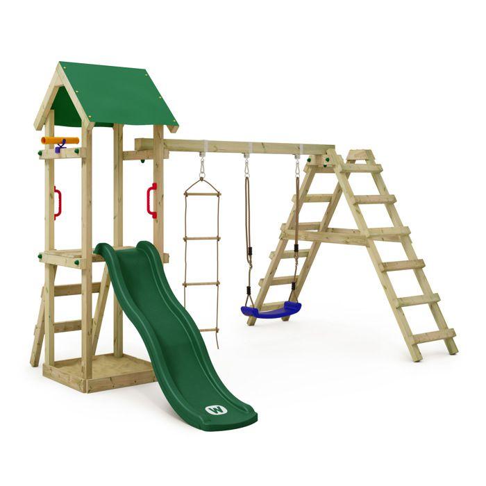 wickey aire de jeux portique bois tinyloft avec ba