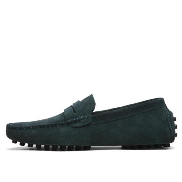 Mocassins Hommes Cuir Ultra Comfortable Appartements Chaussures TYS-XZ071Vert45