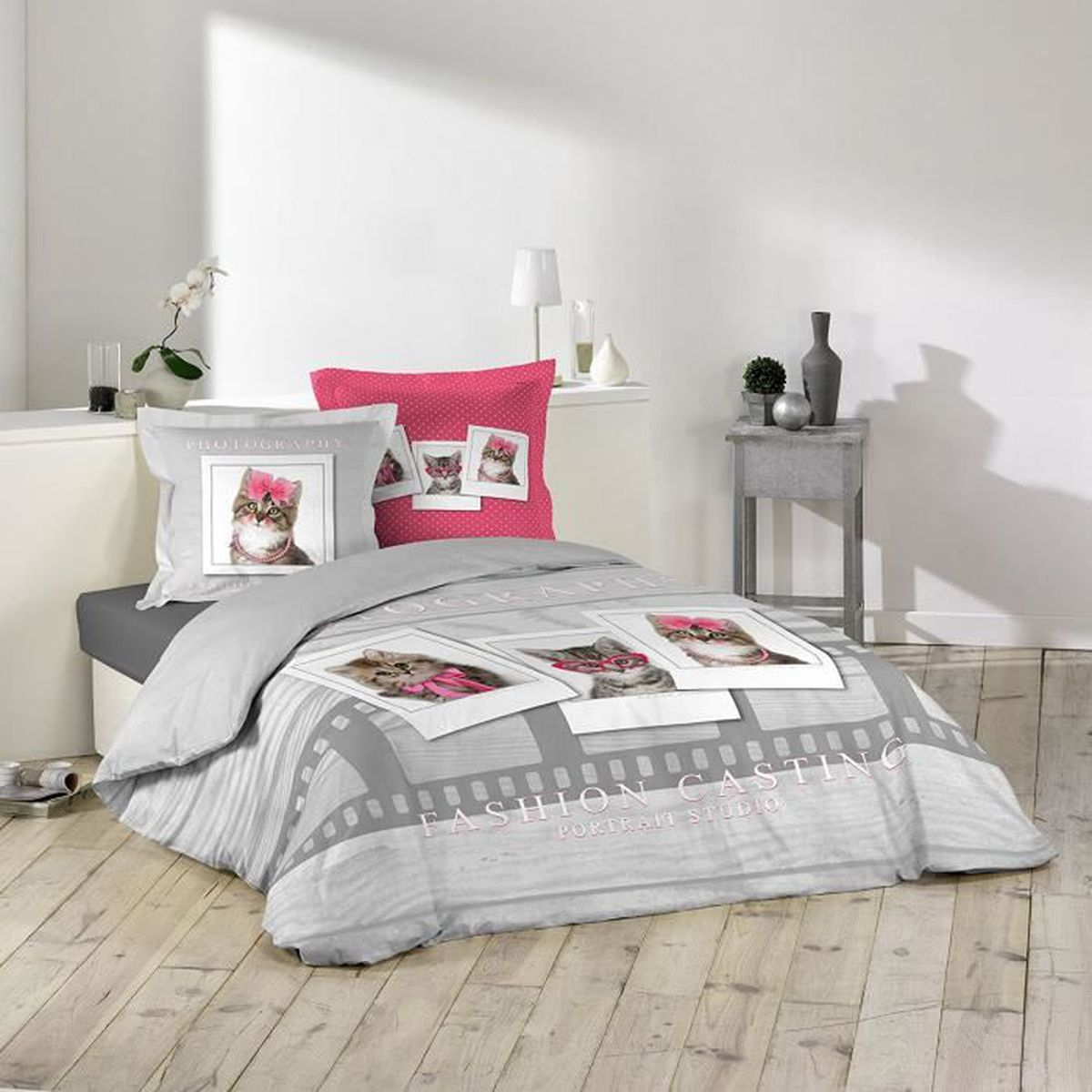 housse couette petit chat enfant 220 x 240cm 100 coton gris clair rose achat vente. Black Bedroom Furniture Sets. Home Design Ideas