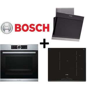 PACK cuisson BOSCH: HBG675BS1F Four chaleur tournante-71L-Pyrolyse EcoClean+PIJ631FB1E-Table de cuisson ? Induction+DWK06G660-Hotte