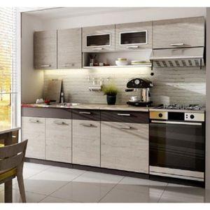 CUISINE COMPLÈTE TOPAZE chêne gris 2m40 / 6 meubles
