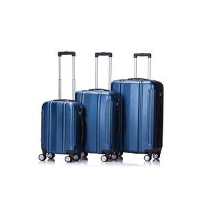 LYS - Set de 3 Valises Bleu Rigide ABS 4 Roues doublées 55-67-77cm
