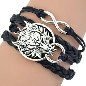 BRACELET - GOURMETTE Bracelet tête de loup rétro femme charme infini tr