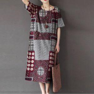 ROBE Femmes à manches courtes en coton lin lâche poche