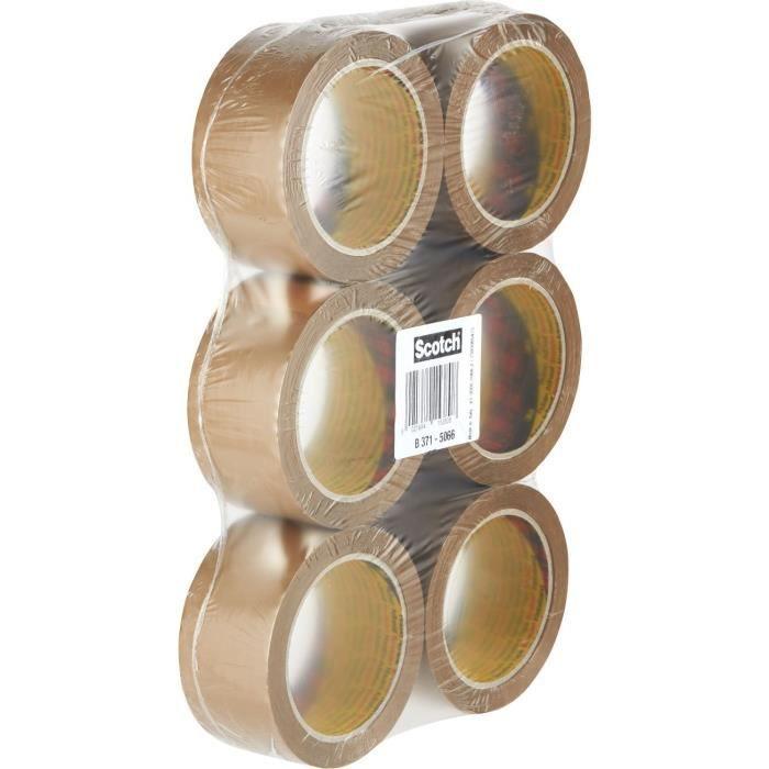 SCOTCH Lot de 6 rubans d'emballage 371 Havane, 48 µm - 50 mm x 66 m