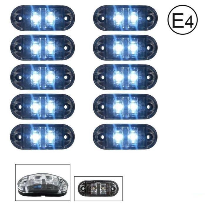 Lot De 10 Feux De Gabarit 24V LED SDM Blanc Approuve pour DOT et SAE E4 Marque Position Avant