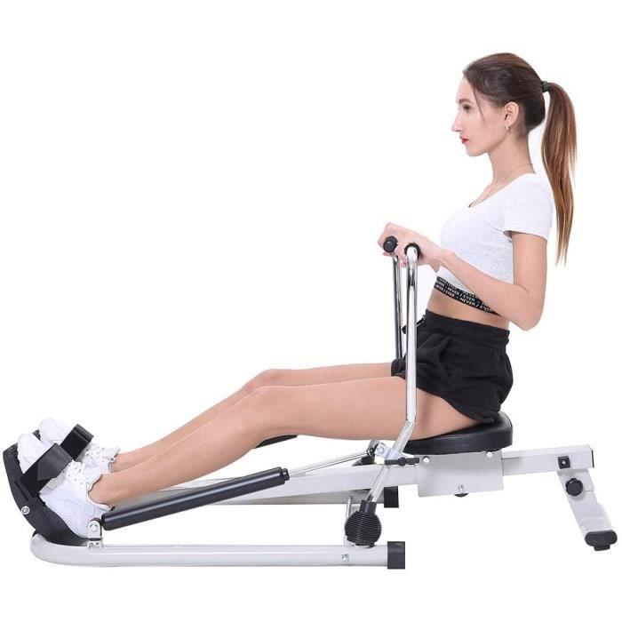 Rameur d'appartement pliable à piston hydraulique - Machine sport ecran lcd fitness cardio sport fesses dos jambes crossfit